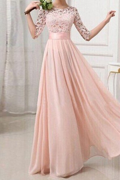 Blush Pink Patchwork Lace Pleated Half Sleeve Chiffon Maxi Bridesmaid Dress