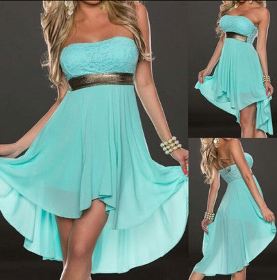 Blue Patchwork Lace Sequin Bandeau Chiffon Dress