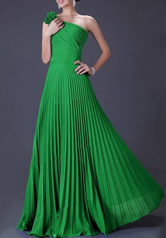 Green One Shoulder Pleated Elegant Prom Evening Party Maxi Dress