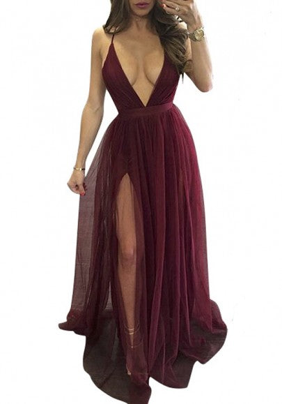 Burgundy Patchwork Spaghetti Strap Backless Plunging Neckline Sleeveless Maxi Dress
