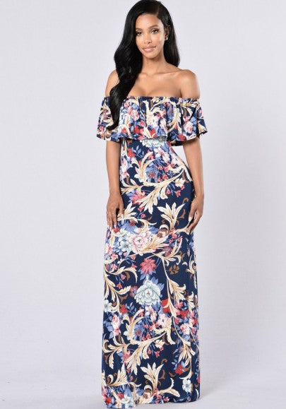 Light Blue Floral Backless Bandeau Ruffle Off Shoulder Retro Bohemian Bodycon Maxi Dress