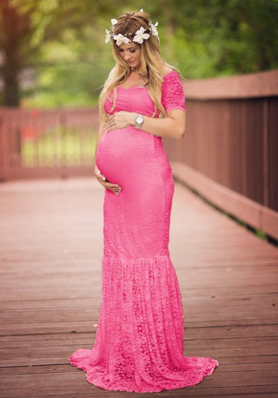 Rose Carmine Lace Ruffle Off Shoulder Boat Neck Mermaid Maternity Maxi Dress
