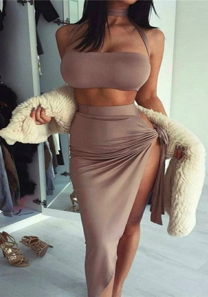 Brown Plain Bandeau Irregular Fashion Maxi Dress