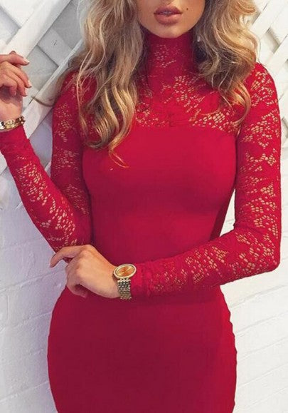 Red Patchwork Hollow-out Lace High Neck Long Sleeve Bodycon Party Midi Dress