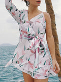 White One Shoulder Leaves Print Ruffle Trim Tie Waist Mini Dress
