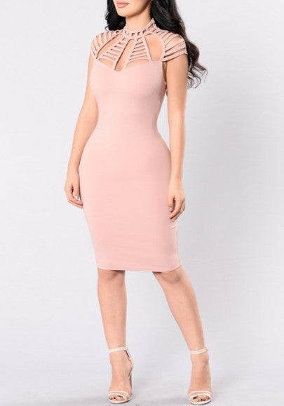 Pink Plain Cut Out Zipper Cap Sleeve Clubwear Bodycon Midi Dress