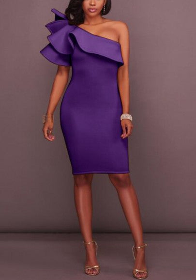 Purple Ruffle Bandeau One-shoulder Short Sleeve Bodycon Party Midi Dress