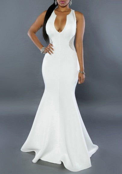 White Patchwork Zipper Pleated Grenadine Plunging Neckline Mermaid Cocktail Prom Maxi Dress