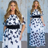 White Butterfly Print Sashes Half Sleeve Plus Size Elegant Maxi Dress