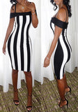 White-Black Striped Spaghetti Strap Boat Neck Off Shoulder Bodycon Midi Dress