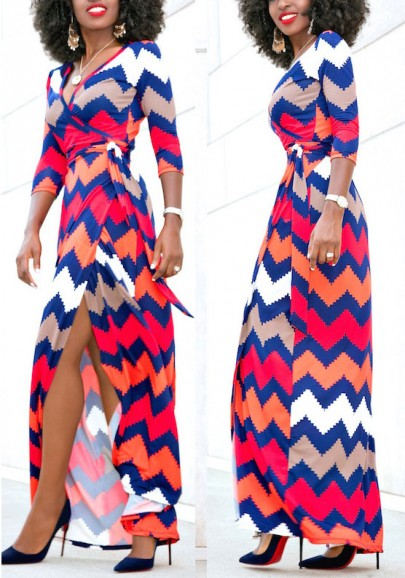 Red Tribal Print Side Slit Wavy Edge Lace-up Elegant Formal Maxi Dress