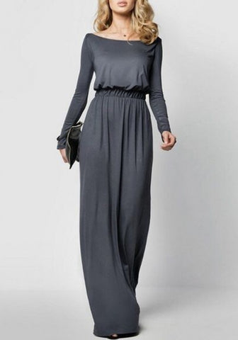 Grey Boat Neck Draped Long Sleeve Elegant Maxi Dress