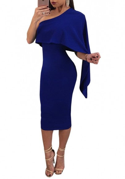 Blue Irregular Asymmetric Shoulder Bodycon Clubwear Midi Dress