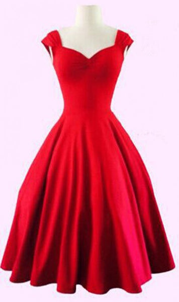 Red Plain Shoulder-Strap Pleated V-neck Audrey Hepburn Vintage Dress