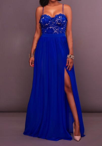 Royal Blue Patchwork Lace Spaghetti Strap Backless High Side Slit Party Maxi Dress