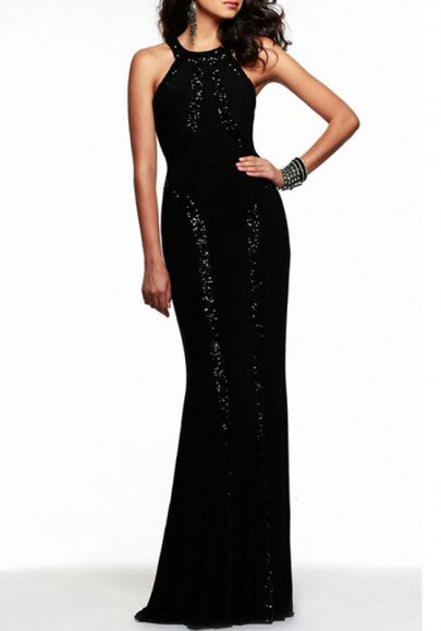 Black Plain Sequin Design Mermaid Sleeveless Prom Maxi Dress