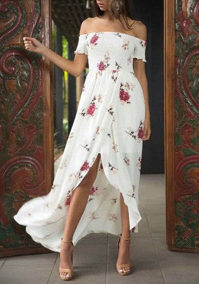 White Flowers Pattern Draped Slit Off Shoulder Backless Bohemian Beach Maxi Dress