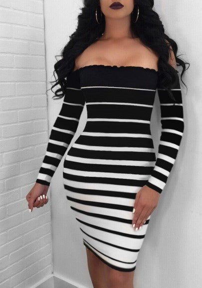 Black-White Striped Off Shoulder Ruffle Backless Bodycon Party Midi Dress