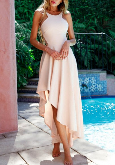 Apricot Spaghetti Strap Backless Draped Pleated High-Low Elegant Bridesmaid Party Maxi Dress