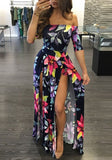 Blue-Red Floral Print Off Shoulder Side Slit Plus Size Boho Maxi Dress