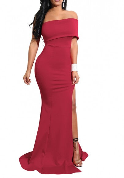 Burgundy Boat Neck Off Shoulder Side Slit Elegant Party Maxi Dress