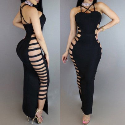 Black Hollow-out Cross Back Spaghetti Strap Side Slit Bodycon Maxi Dress