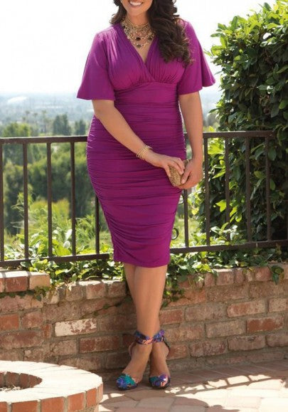 Purple Plain Pleated V-neck Bell Sleeve Elegant Plus Size Ruched Midi Dress