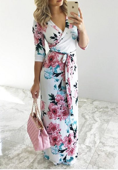 White Floral Belt Draped V-neck Elbow Sleeve Fashion Maxi Dress