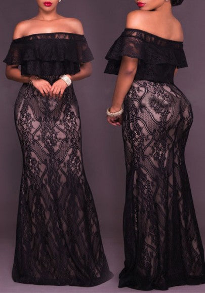 Black Lace Ruffle Off Shoulder Backless Banquet Mermaid Bodycon Party Maxi Dress