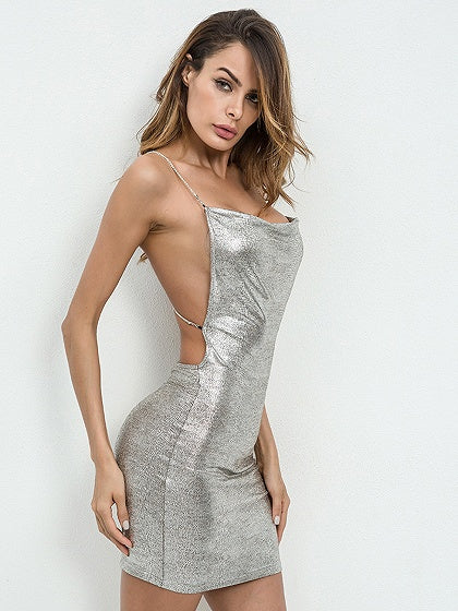 Silver Chain Detail Open Back Bodycon Mini Dress