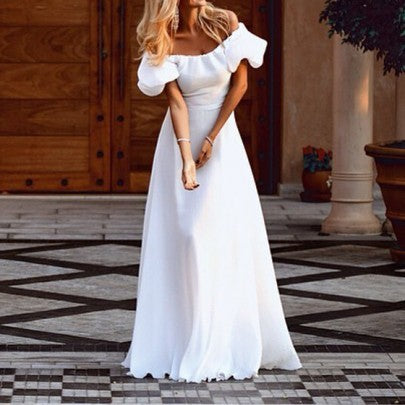 Pleated Boat Neck Off Shoulder Short Sleeve Maxi Dress