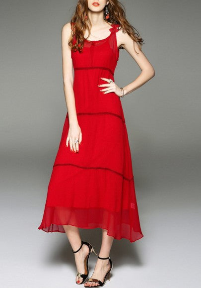 Red Irregular Draped Condole Belt Double-deck Sleeveless Elegant Summer Beach Party Maxi Dress