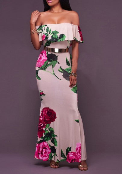 Pink Flowers Print Ruffle Off Shoulder Mermaid Backless Slit Maxi Dress