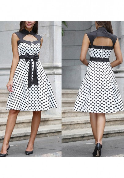 White Patchwork Bow Cut Out Elegant Midi Dress