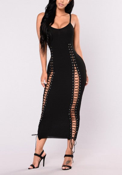 Black Lace-up Spaghetti Strap Backless Prom Evening Party Maxi Dress