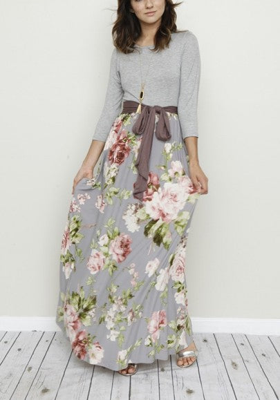 Grey Patchwork Floral Print Belt Long Sleeve Fashion Maxi Dress