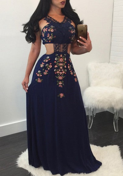 Navy Blue Patchwork Lace Backless Floral Print Vintage Mexican Maxi Dress