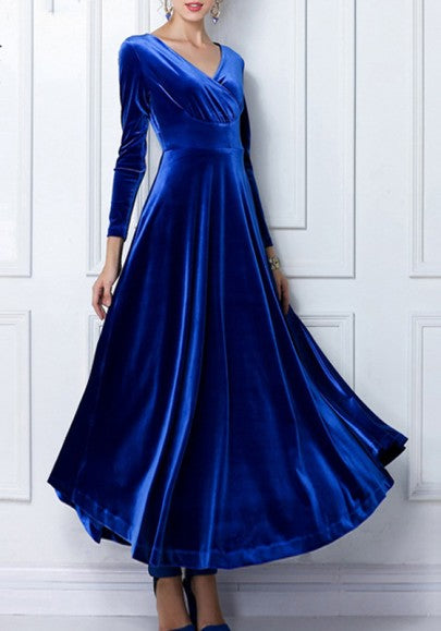Royal Blue Plain V-neck Long Sleeve High Waisted Elegant Vintage Maxi Dress
