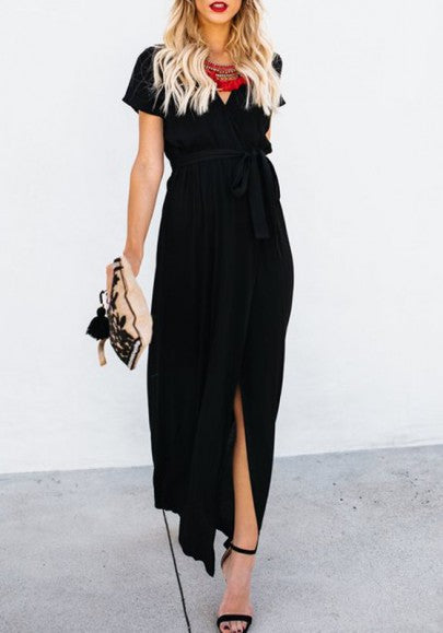 Black Sashes Draped Side Slit V-neck Office Worker/Daily Elegant Maxi Dress