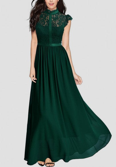 Green Patchwork Lace Zipper Draped Elegant Cocktail Party Chiffon Maxi Dress