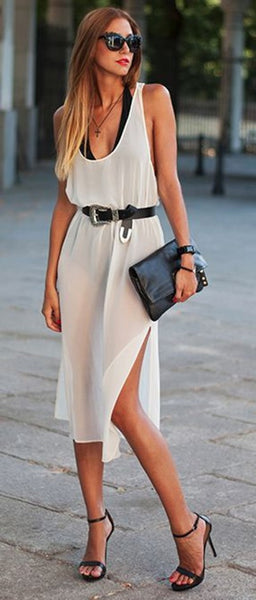 White Plain Shoulder-Strap U-neck Backless Side Slits Sleeveless Stylish Chiffon Midi Dress