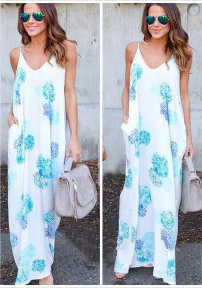 White Floral Print Pockets Draped Spaghetti Strap V-neck Oversize Bohemian Maxi Dress