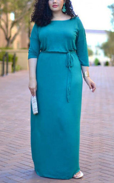 Blue Sashes Draped Plus Size Round Neck 3/4 Sleeve Maxi Dress