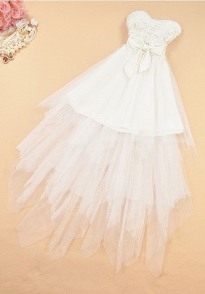 White Patchwork Lace Bow Bandeau Irregular Tutu Maxi Dress