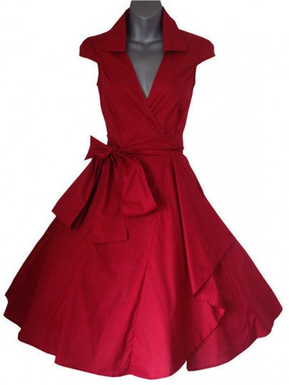 Plain V-neck Short Sleeve Bow Belt Audrey Hepburn Style Slim Party Midi Dress