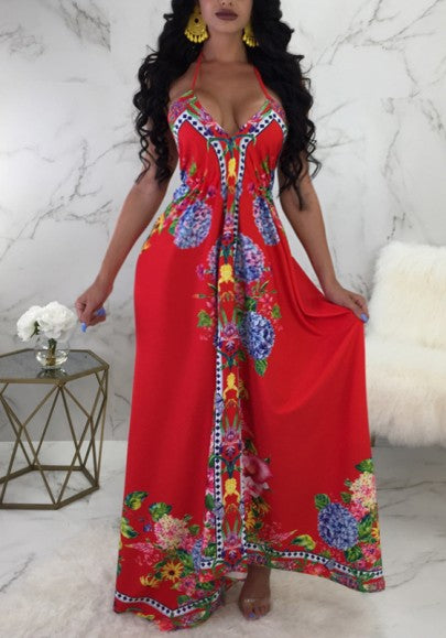 Red Tribal Print Draped Spaghetti Strap Halter Neck High Waisted Bohemian Maxi Dress