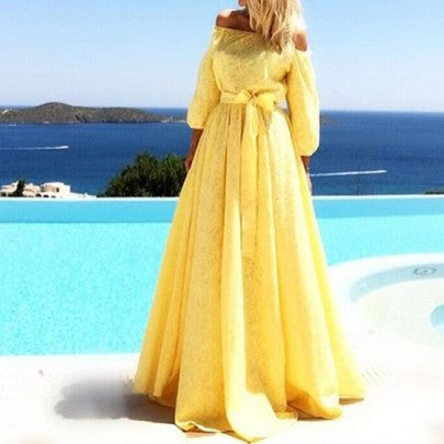 Yellow Plain Lace Pleated Boat Neck 3/4 Sleeve Maxi Dress