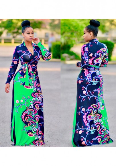 Multicolor Flowers Print Sashes Band Collar High Waisted Bohemian Maxi Dress
