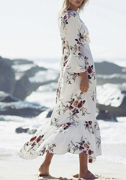 White Floral Long Sleeve V-neck Bohemian Flowy Beach Maxi Dress