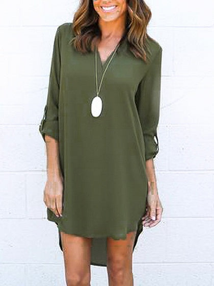 Green V-neck Roll-up Sleeve Dipped Hem Dress